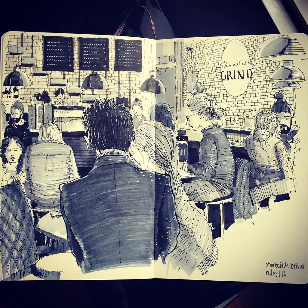 Hipster watching and coffee @shoreditchgrind Old Street #shoreditchsketcher #shoreditch #s… https://t.co/t2ojxOaEVk https://t.co/AhIt5ce0pN
