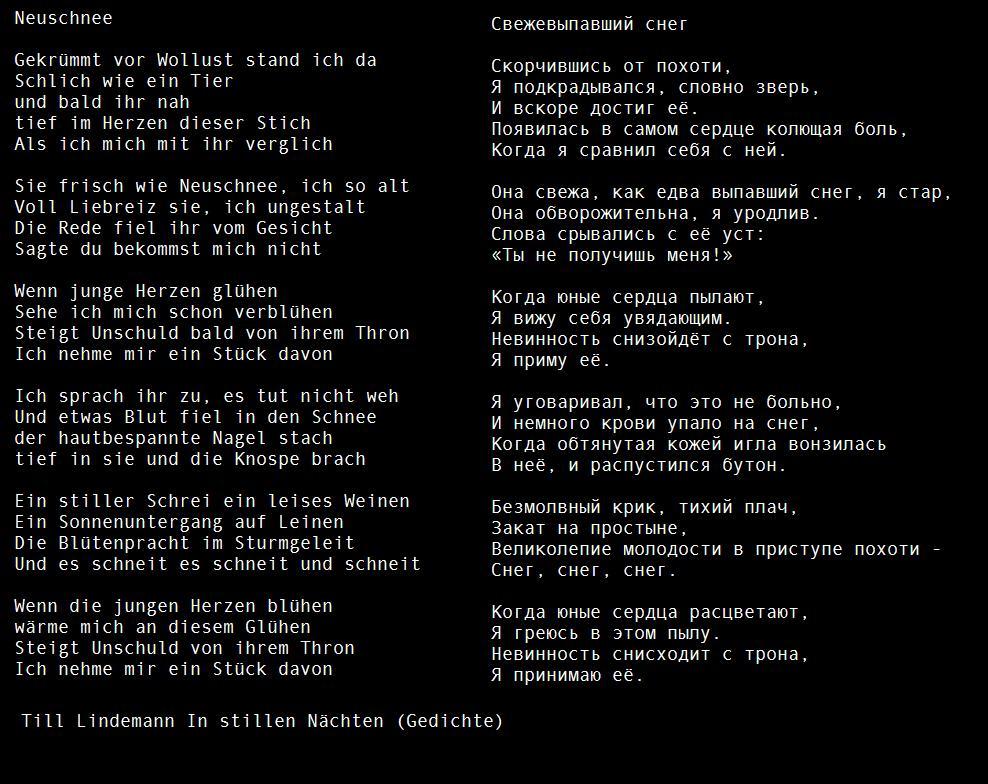 Till Lindemann Gedichte On Quiet Nights By Till