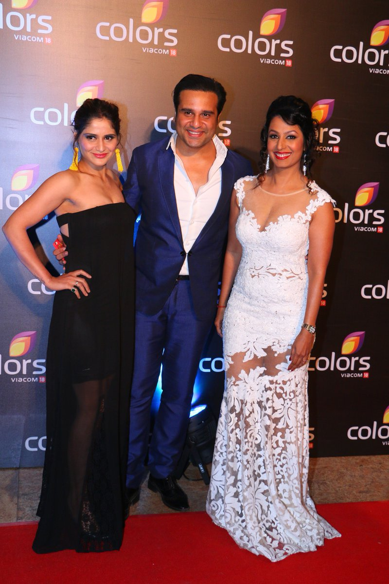 Aarti Sigh, Krishna Abhishek and Kashmera Shah at Colors Annual Party 2016 Image-Photo