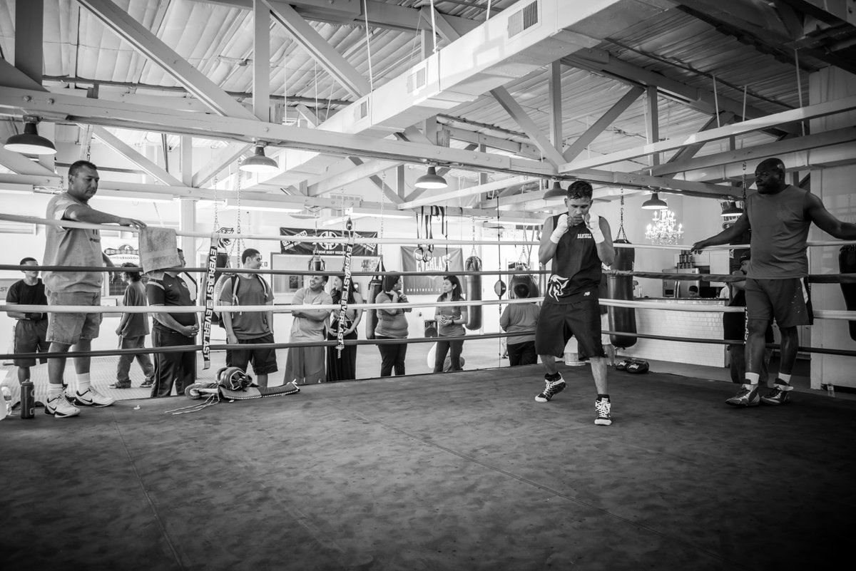 "Four time World Champion Juan ""Baby Bull"" Diaz training for his fight on March 19. @1Babybull @MamboSeafood #boxing https://t.co/5JCMAfi7NN"