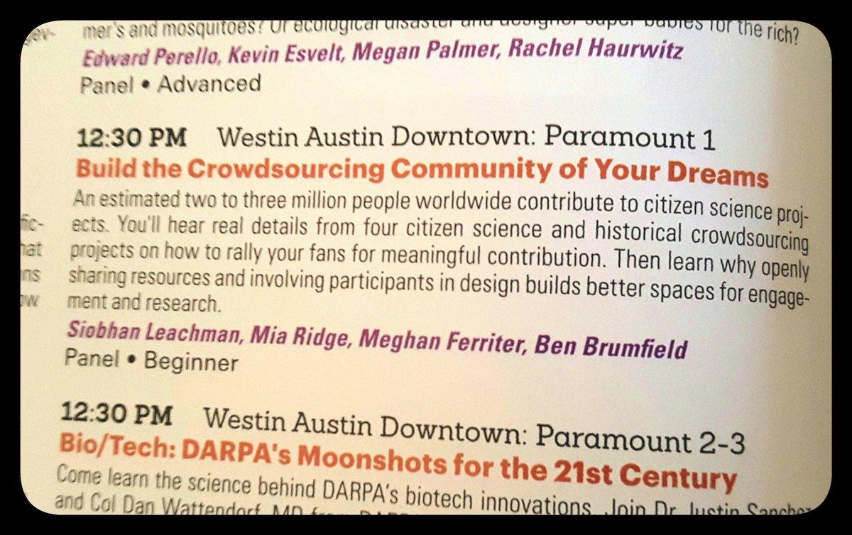 Eat early, then join to talk engagement & crowdsourcing 1230pm @mia_out @benwbrum @SiobhanLeachman #sxsw #GLAMcrowd https://t.co/IDxNBBUH5J