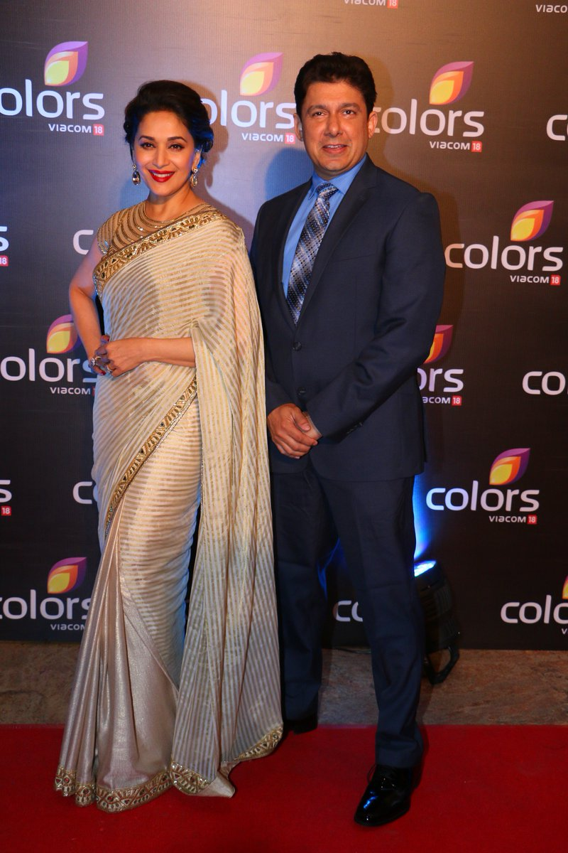 The super stunning Madhuri Dixit and husband Dr. Nene at Colors Annual Party Image-Picture