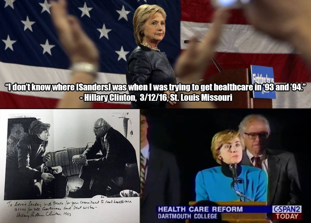 Don't look back to 1993, but @BernieSanders is right behind you, @HillaryClinton! #feelthebern #healthcare https://t.co/h1nR0uoFx8