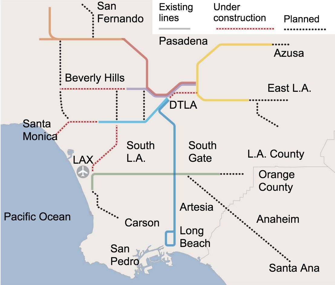 Los Angeles Subway Map 2016.Los Angeles Times On Twitter What If The L A Area Metro Went To