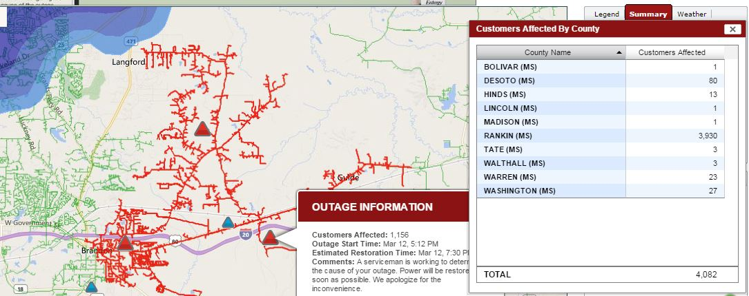 Happening now: entergy ms reports nearly 4,000 rankin county
