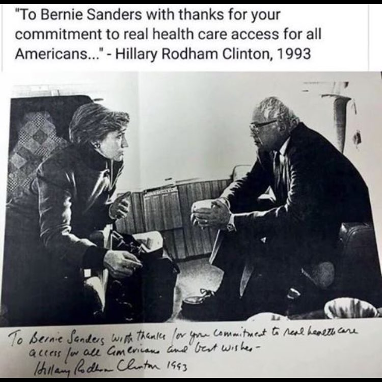 Clinton today: I don't know where he was when I was trying to get health care. In 1993 w/ Bernie:  #HistoryByHillary https://t.co/q6skSbHanN