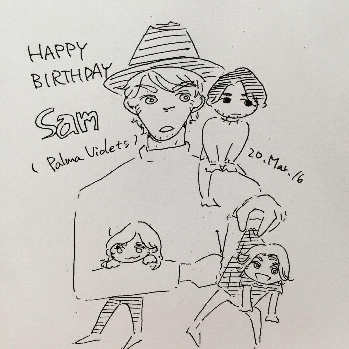 Happy Birthday Sam🎉🎉 Palma Violetsのお父さん的存在(最年長はピート)でニックケイヴみたいな深い声が魅力的な頼れる君が好き! 痩せたら1番イケメンなのでがんばってね🙏🙏