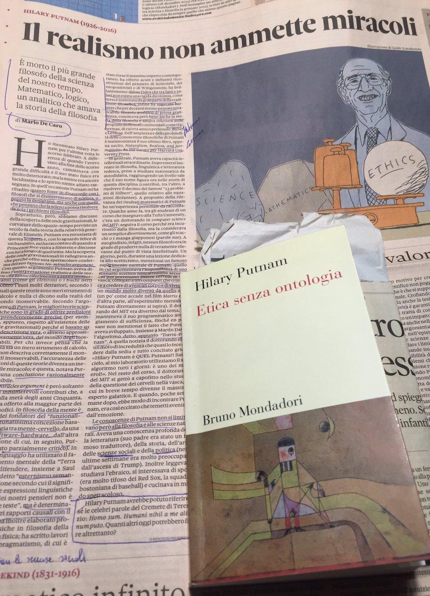 imperdibile il ricordo di Mario De Caro su la @24Domenica @sole24ore - Hilary #Putnam 1926-2016 #filosofia #scienza https://t.co/1hzgyi85dk