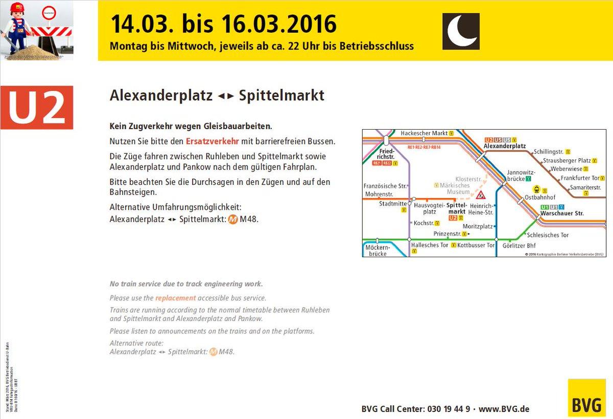 Bvg U Bahn On Twitter U2 Unterbrechung Wegen Bauarbeiten Vom