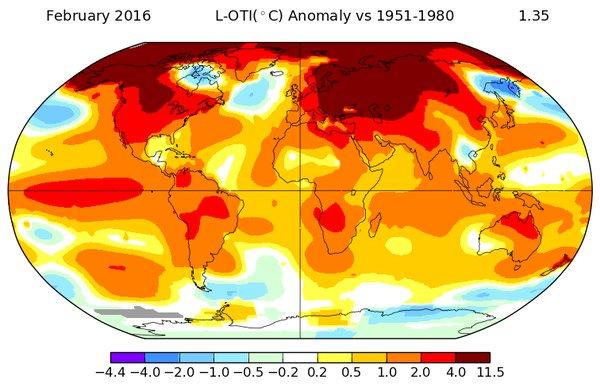Минувший февраль побил температурный рекорд, - NASA - Цензор.НЕТ 7158