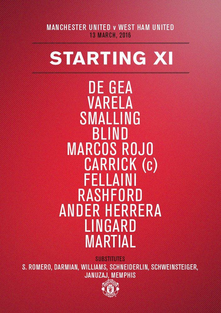 #mufc XI: De Gea, Varela, Smalling, Blind, Rojo, Carrick, Fellaini, Rashford, Herrera, Lingard, Martial.