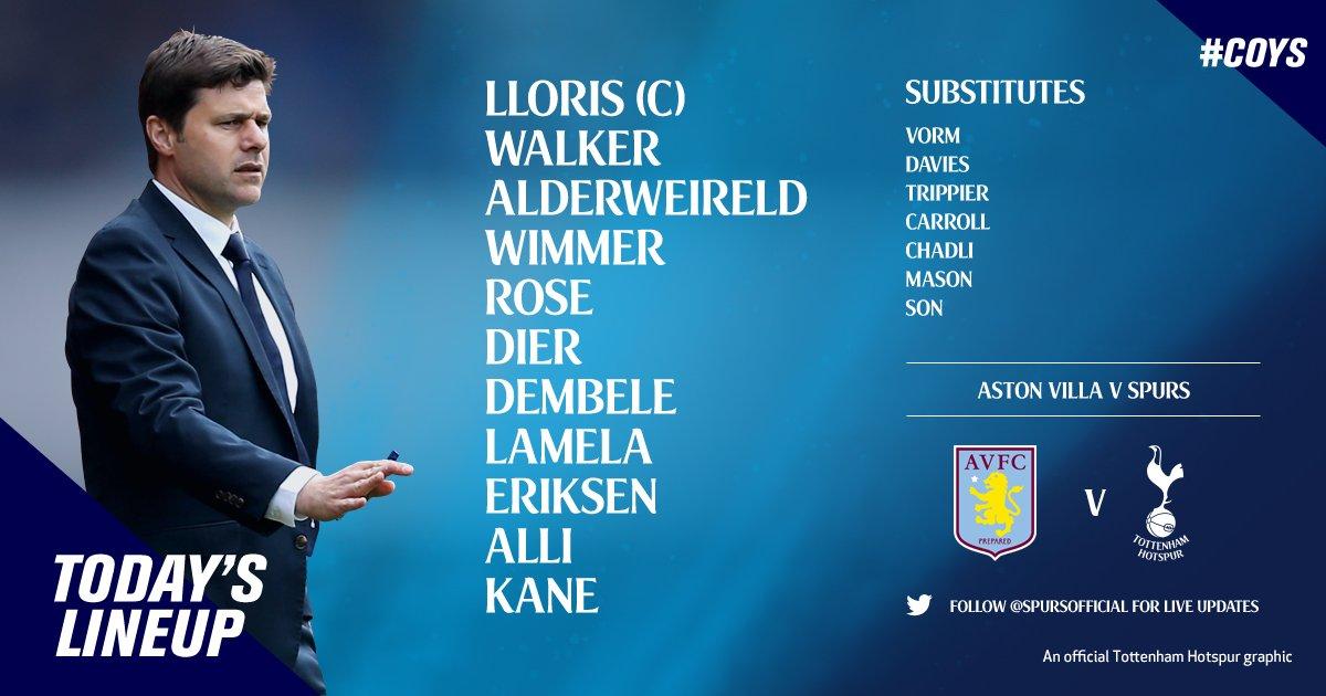 Aston Villa v Tottenham [Team Sheets]