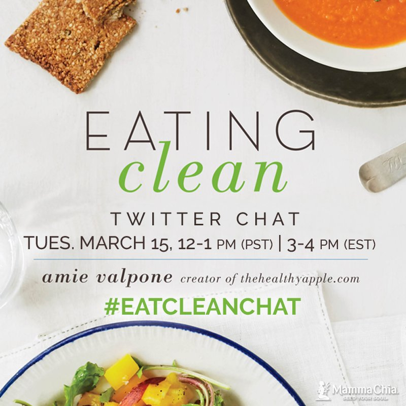 Join us for a #EatCleanChat with @TheHealthyApple on Tues. March 15th 12-1pm PST! #Giveaways included! #TwitterChat https://t.co/MF20bIjl7t