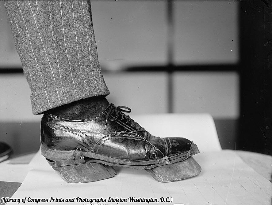 Cow shoes used by moonshiners during Prohibition to disguise their footprints, circa 1922.