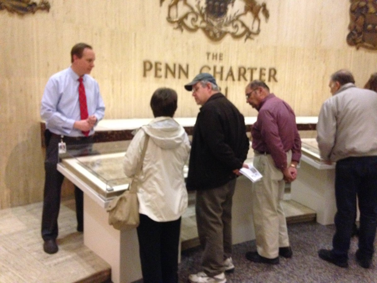Archivists fielding lots of questions about Penn's Charter now on exhibit @StateMuseumPA #PaCharter2016 #archives https://t.co/7KMWBsDusC