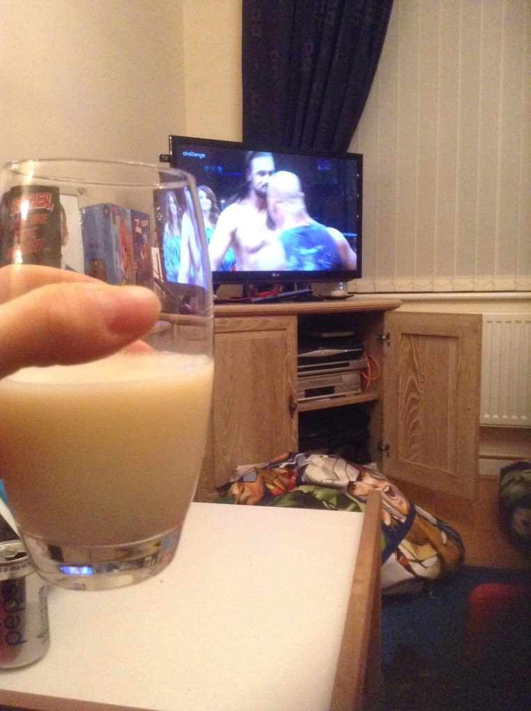 #ImpactUK glass of milk in hand in tribute, toasting the best in the world @RealKurtAngle