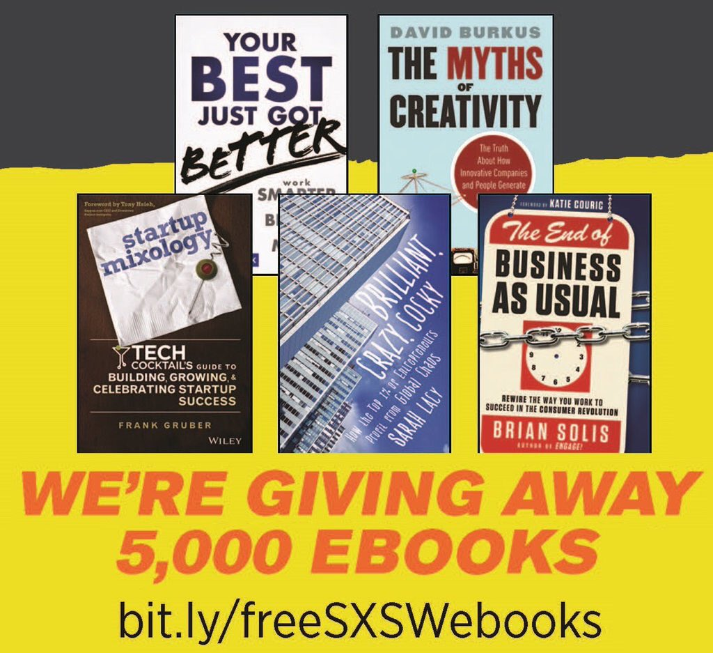 We're giving away 5,000 ebooks to celebrate big ideas at #SXSW but they're free to everyone! https://t.co/Xhrr5XIeEK https://t.co/mW9fi7UYFX