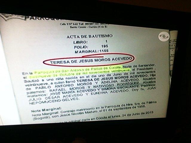 L'atto di battesimo della mamma colombiana dell'attuale presidente venezuelano Nicolas Maduro