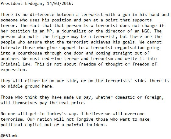 Chilling statement from Erdogan. Turkey's draconian terror laws are already a driver of the Kurdish problem: https://t.co/9bqh0evTl9