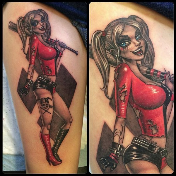 Cool Harley Quinn pin,up piece done by Rasty this past