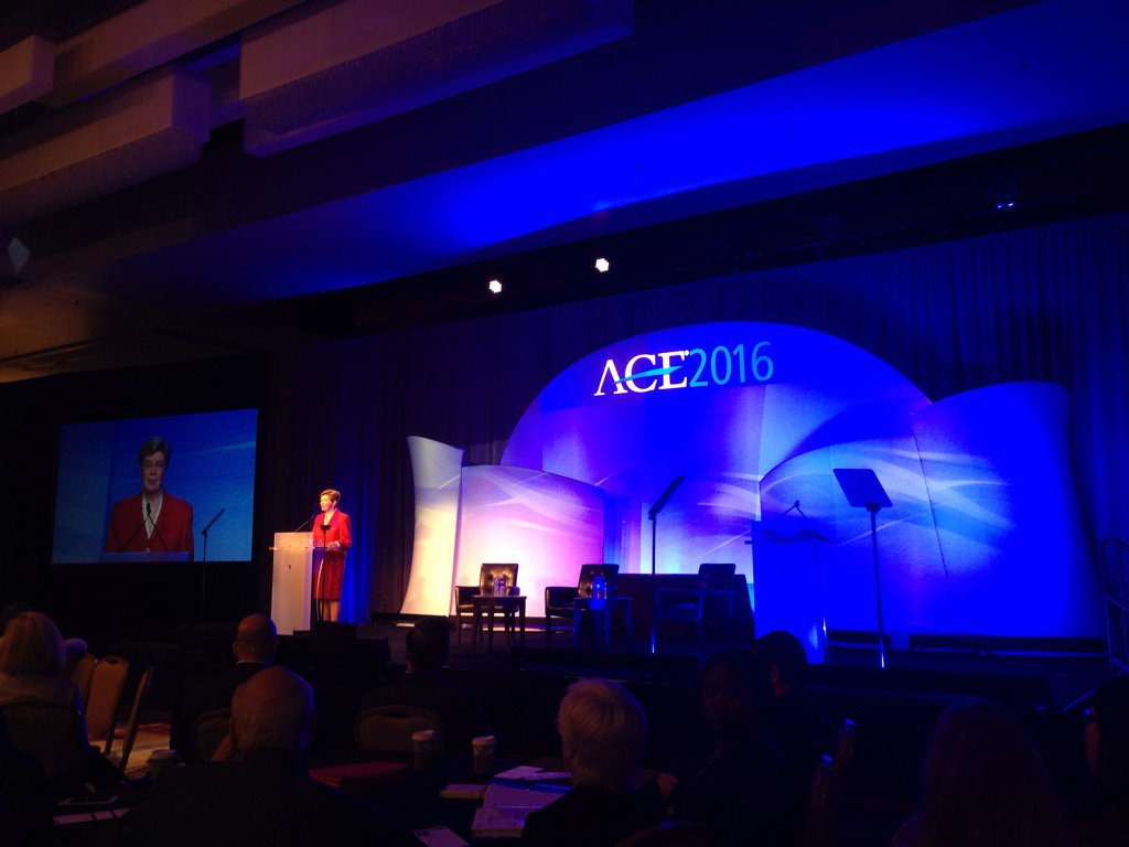 .@ACEducation President Molly Broad addressing #ACEMeetSF Plenary https://t.co/aJJgEEaqAm