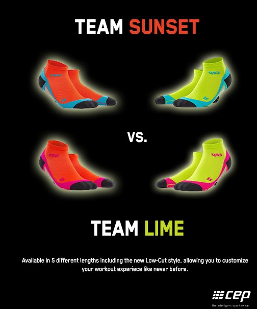 #TeamSunset or #TeamLime? Retweet and/or tell us for a chance to win a pair of new Low-Cut Socks  #Giveaway #CEP https://t.co/9hENQIJsr5
