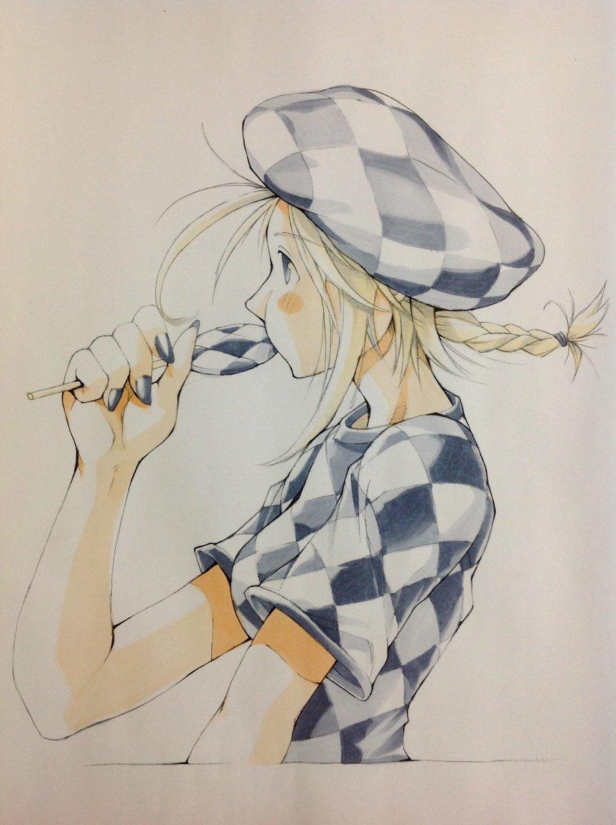 市松模様さん着彩した〜。やる前から思った通り、塗るのがムズかった〜。