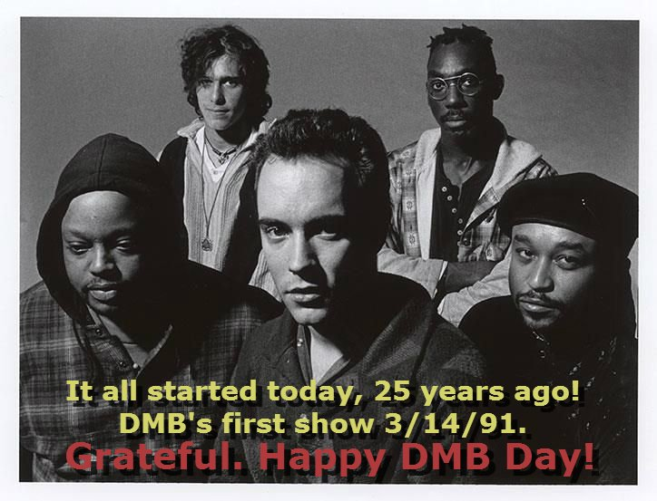 #grateful Today is the 25 Year Anniversary of Dave Matthews Band's first concert. 3/14/91 #dmbarchive https://t.co/mr8qjqm5eP