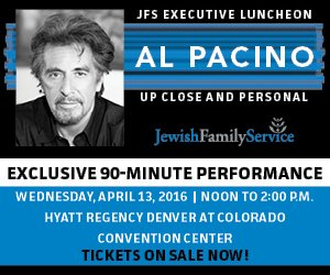 Proud sponsor of 4/13 Jewish Family Service of CO​ event with @TheRealPacino​. Tix here: https://t.co/tfqhdl0aZd https://t.co/Jw7gQUyVUj