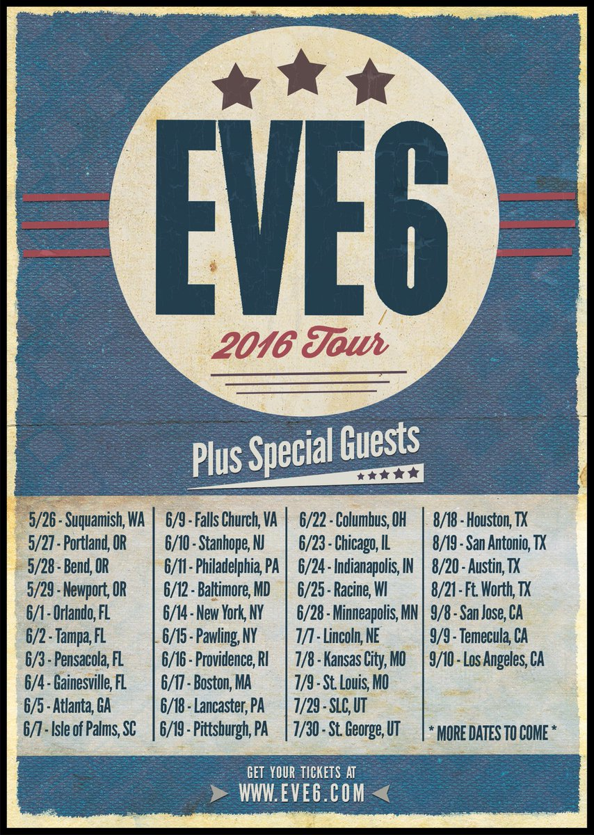 Dates announced for the Eve 6 2016 tour! Most go on-sale 3.18, we'll have ticket links on https://t.co/rMOWOxpniC https://t.co/9sKypIitLZ