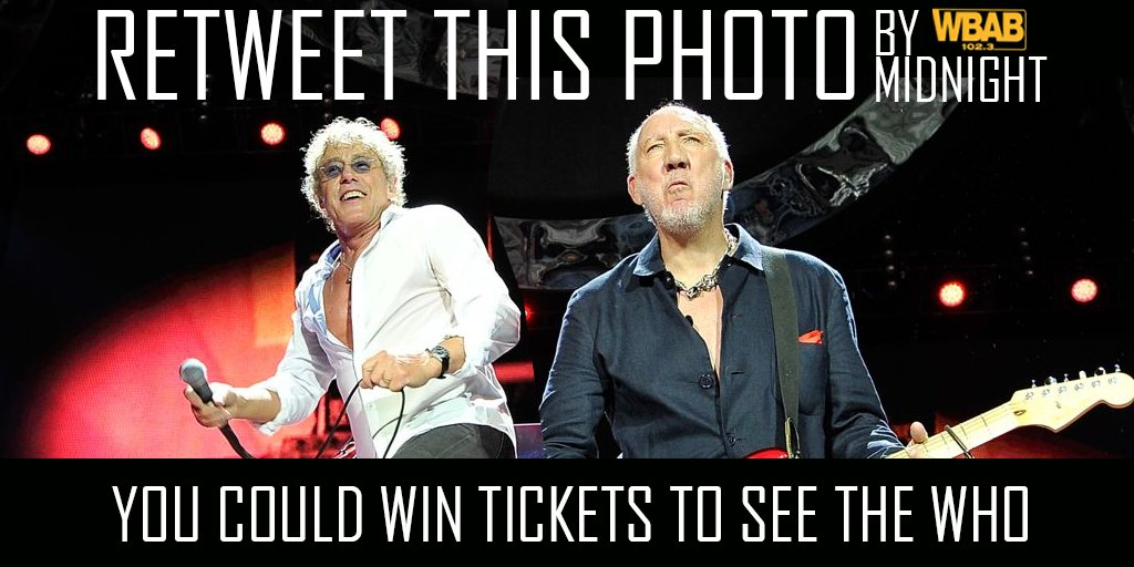Retweet by Midnight & you could win tix to @TheWho @PruCenter Saturday. One winner chosen at random. @JoeRockWBAB https://t.co/bi1vtrDfmt