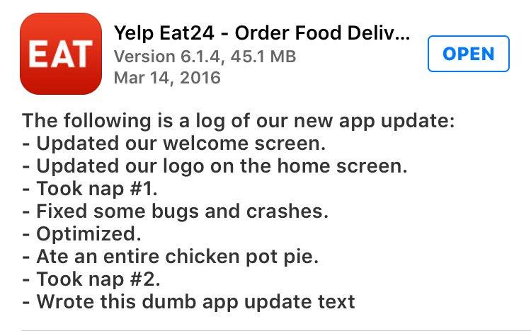 LOL, @Eat24's recent app update info. https://t.co/RaFFZ87VQV