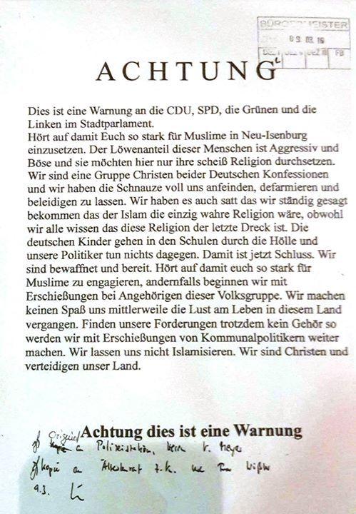 Drohbrief an den Bürgermeister von Neu-Isenburg