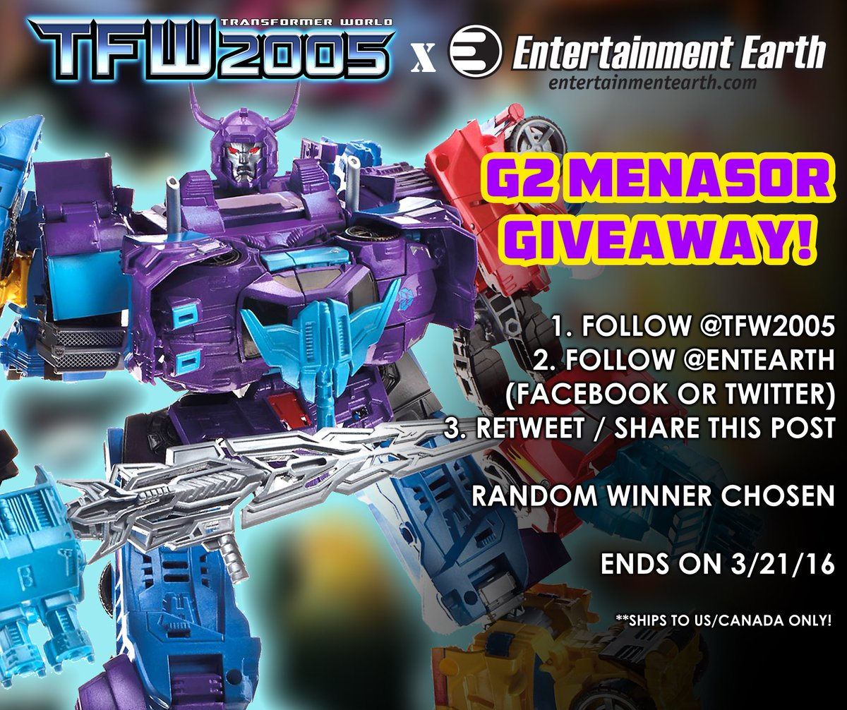 @TFW2005 & @EntEarth are giving away a G2 Menasor!  Retweet this & follow us both for a chance to win! https://t.co/jCDVnphTWG
