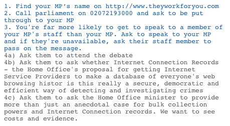 UK folks > the Investigatory Powers Bill debate is at 12.45 TODAY. How to ask your MP to attend: https://t.co/1V7zI8er79
