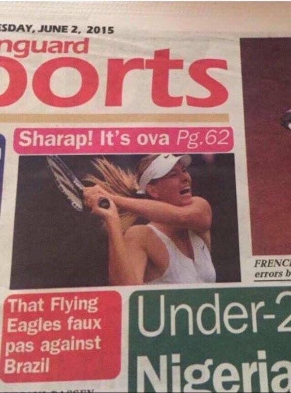 This Nigerian newspaper covered the Sharapova story... #TheScoreKE @CarolRadull @KieniGithinji @RoyKaruhize https://t.co/9PGOvNynaC
