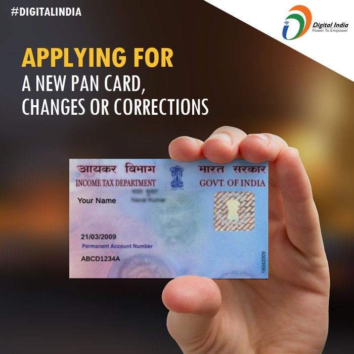 """Digital India on Twitter: """"#DigitalIndia: Apply for a new PAN card, changes  or corrections in through online form. https://t.co/aSXaihJ7lf  https://t.co/9SgMFNP6uv"""""""