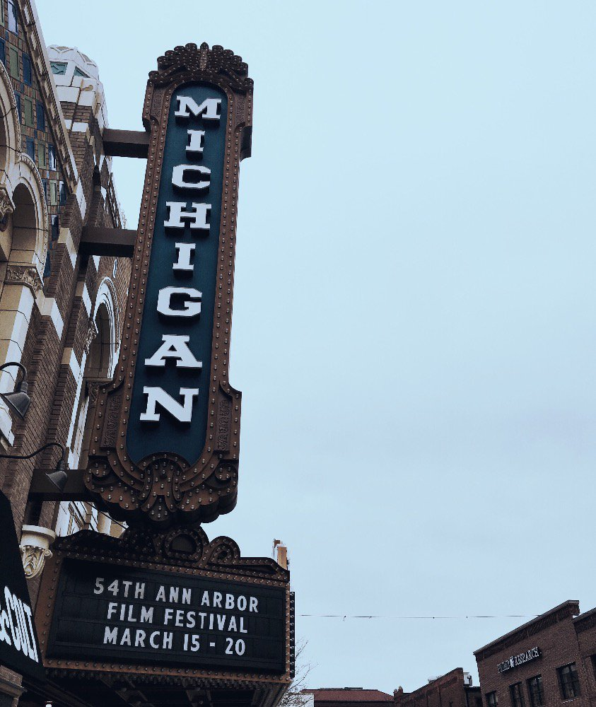 The sign on the @michigantheater is up - #54aafilmfest is officially here! Let the week of film and art begin!
