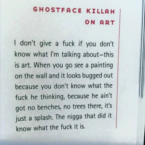 From The @WuTangClan Manual, @GhostfaceKillah on art: https://t.co/g1GdzIHyh7