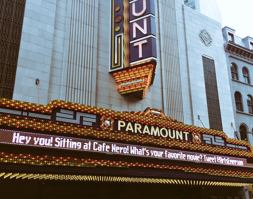 The Paramount marquee has begun talking to the coffee shop across the street, but will they notice? @universalhub https://t.co/uVnsH5qmth