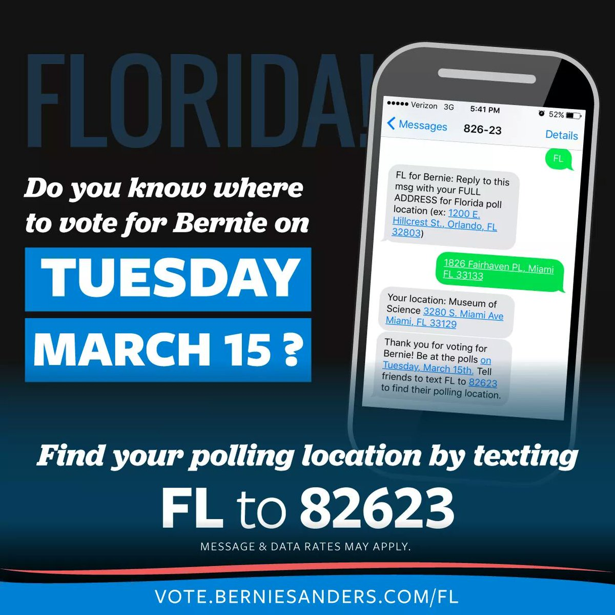 >1 hour to vote in #FloridaPrimary! Find your polling place by texting FL to 82623. #ivoted #FeelTheBern #NeverTrump https://t.co/TiFyWGTPo5