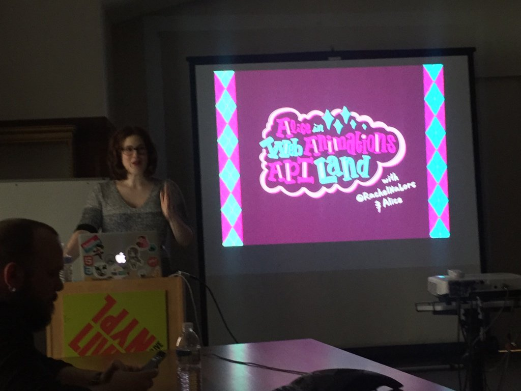 .@rachelnabors making lemons out of lemonade. Happy to get to see her new Alice in Web Animations Land talk! https://t.co/PZcpdSdiWh