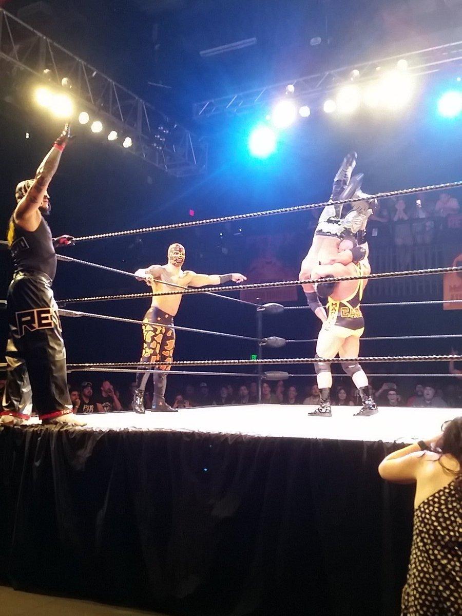 Cage + @KingRicochet Prince Puma + Rey Mysterio makes a HELL of a trio!!! #AustinWarfare @LuchaElRey https://t.co/pjUMseSeDr
