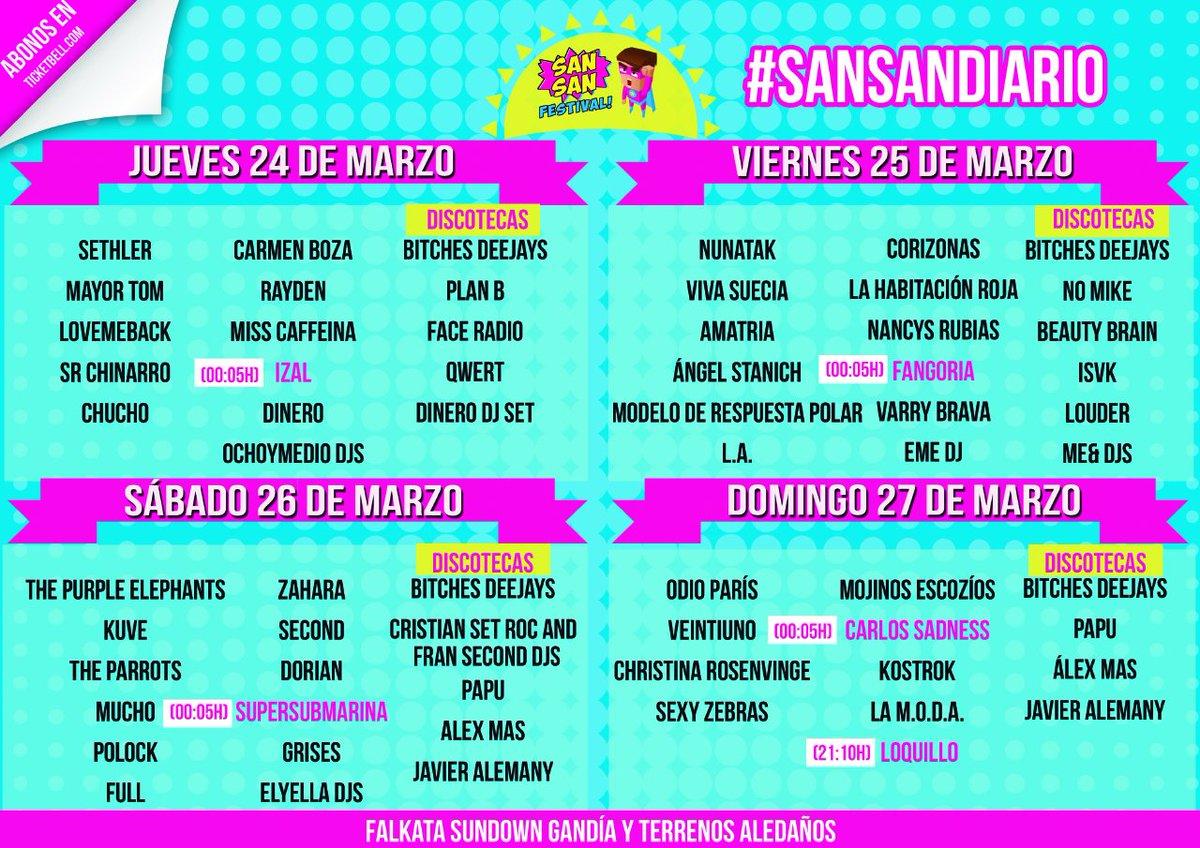 ¡Ya tenemos el cartel por días del @SanSanFestival! Pasa la palabra y haz RT. ¡Puedes tener sorpresa! #sansandiario https://t.co/p2d38xZNND