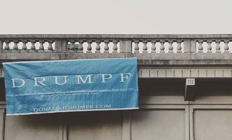 So someone hung a Drumpf banner off of bridge over Rock Creek Parkway in DC... @iamjohnoliver, did you do this? https://t.co/7umpXQThEK