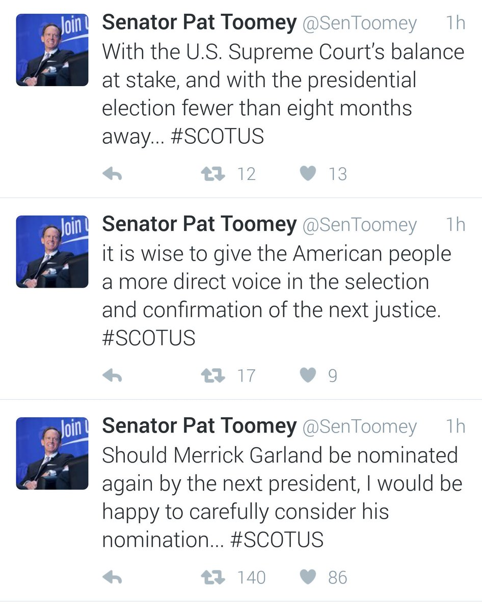 Pennsylvania, this is who is representing you, @SenToomey #VoteToomeyOut #DoYourJob #SCOTUSnominee #MerrickGarland https://t.co/bRAN9DmyoJ