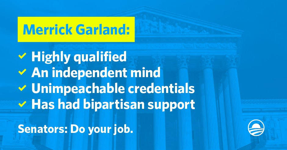 President Obama just nominated Judge Garland for #SCOTUS. Senators: #DoYourJob. https://t.co/DnLQMzy5Am