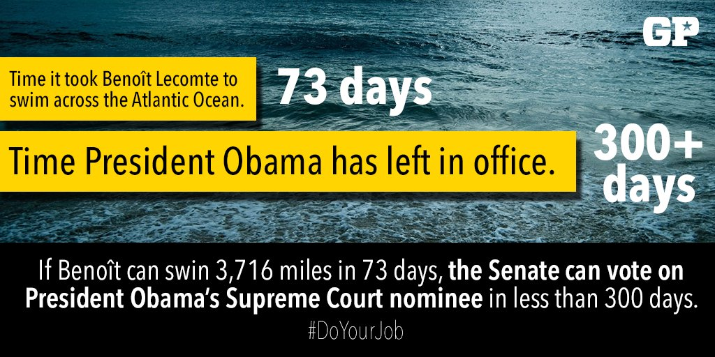 Senators, #DoYourJob: It would be irresponsible & unprecedented to let a vacancy on #SCOTUS extend into 2017. https://t.co/umuzYq0guE