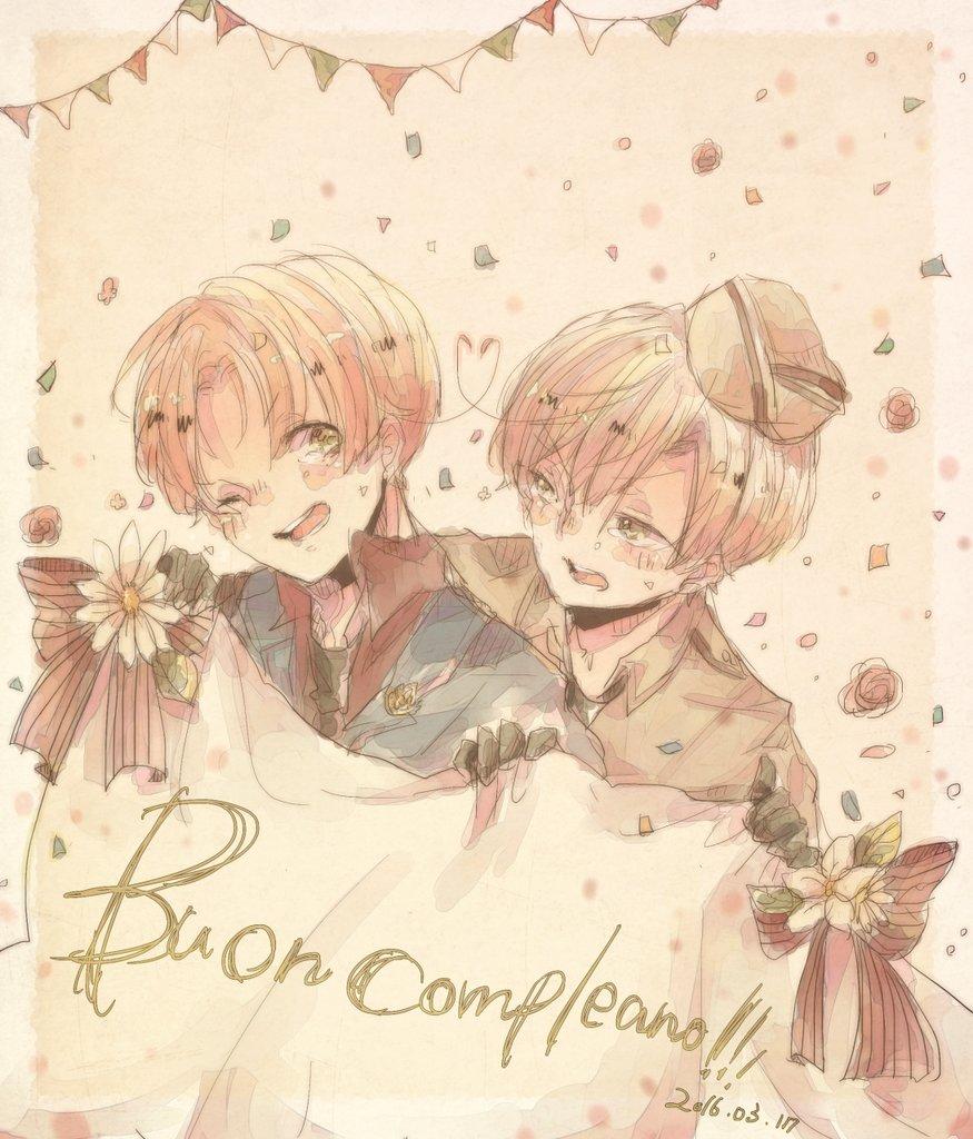 マカロニ兄弟!!フェリちゃんロマーノお誕生日おめでとう!!!今年もこの日を祝うことができてしあわせです。だいすき https://t.co/iZBaD4DVOE