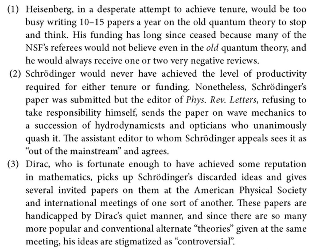 What if Heisenberg and Schrodinger were trying to publish their work in 2016 instead of 1925? (From PW Anderson) https://t.co/It7wXKEehw